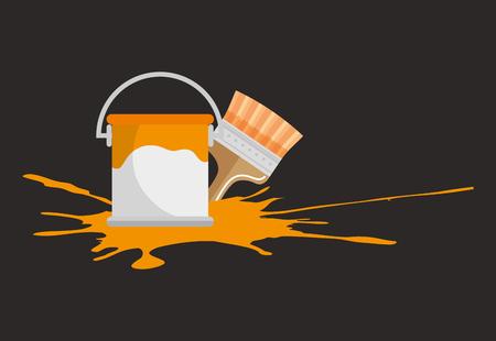 paint pot and brush vector illustration design