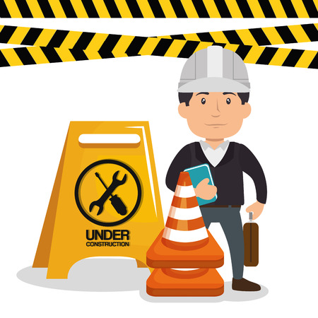 engineer character working icon vector illustration design