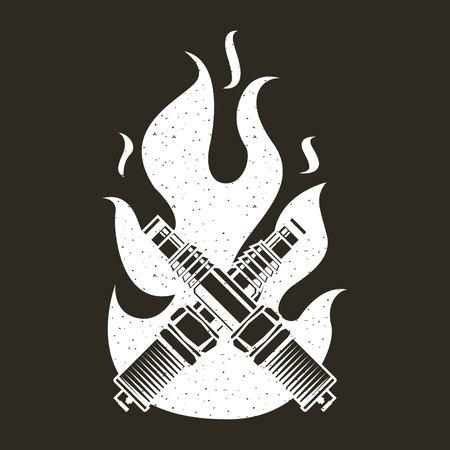 crossed spark plug spare part fire emblem vector illustration