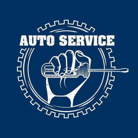 hand holding screwdriver on gear engine mechanical vector illustration