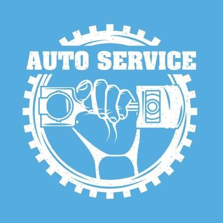 hand holding piston car industry on gear vector illustration