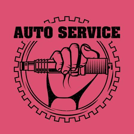 hand holding spark plug spare part auto service vector illustration