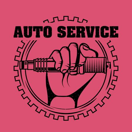hand holding spark plug spare part auto service vector illustration