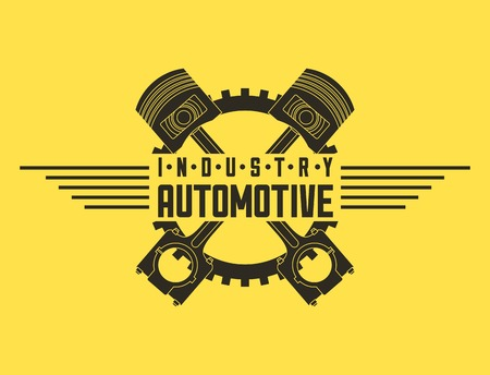 industry automotive pistons gear emblem vector illustration Ilustrace