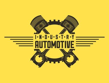 industry automotive pistons gear emblem vector illustration Illustration