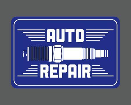 spark plug spare part auto repair vector illustration