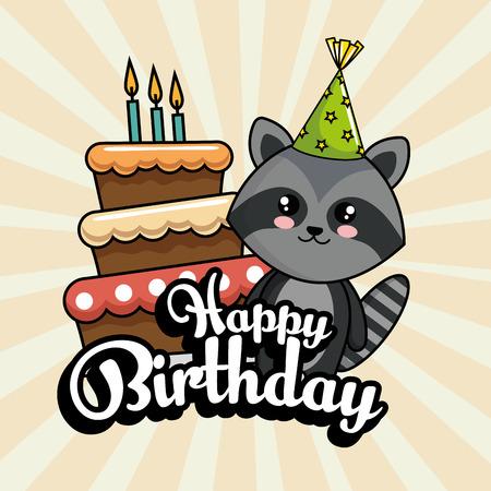 Carte de joyeux anniversaire avec conception d'illustration vectorielle mignon raton laveur