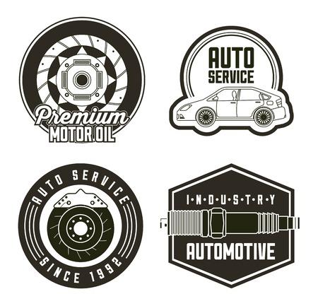 industry automotive auto service set labels vector illustration Illustration