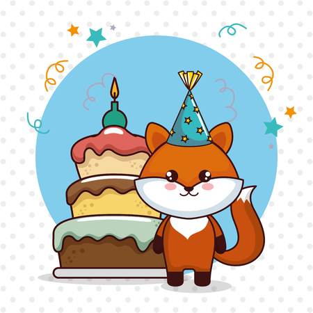 happy birthday card with cute fox vector illustration design