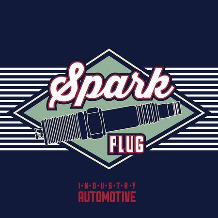 spark plug spare part industry automotive vector illustration Illustration