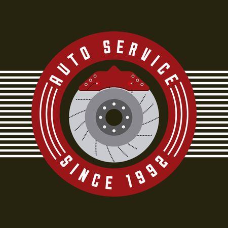auto service remschijf deel auto embleem vectorillustratie