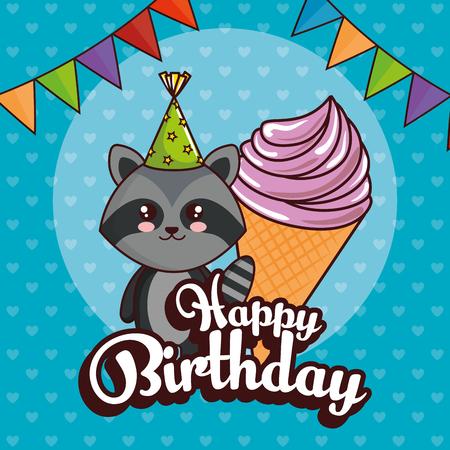 happy birthday card with cute raccoon vector illustration design Ilustração