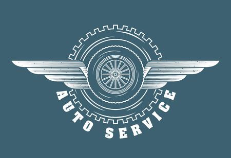 wheel car gear wings emblem auto service vector illustration Ilustracja