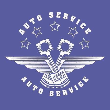 pistons stars wings emblem auto service vector illustration