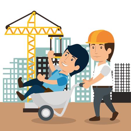 men builders characters working vector illustration design