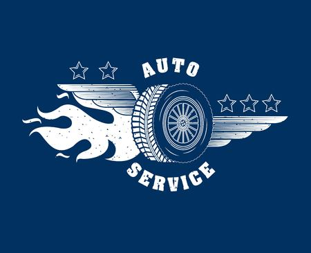industry automotive wheel car in fire emblem vector illustration Ilustração