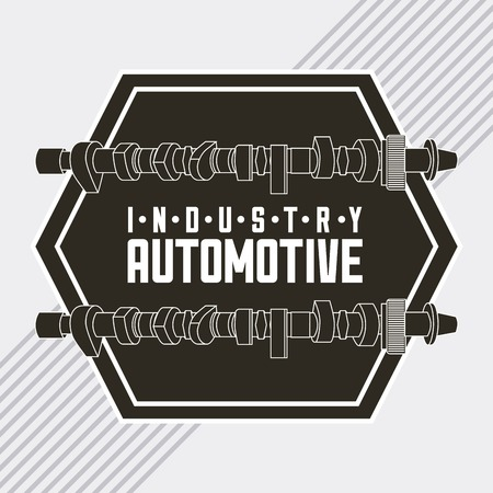 industry automotive connecting rod part grunge style emblem vector illustration Vectores