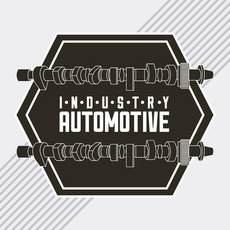 La industria automotriz parte de la biela estilo grunge emblema ilustración vectorial Ilustración de vector
