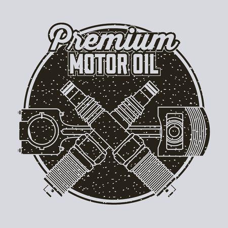premium motor oil piston and spark plugs vector illustration Illustration