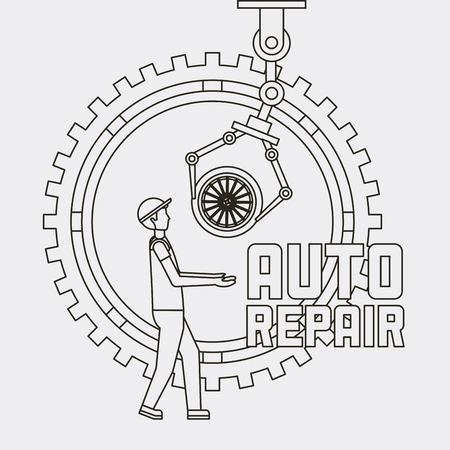 worker auto repair service robot arm with wheel car vector illustration Illustration