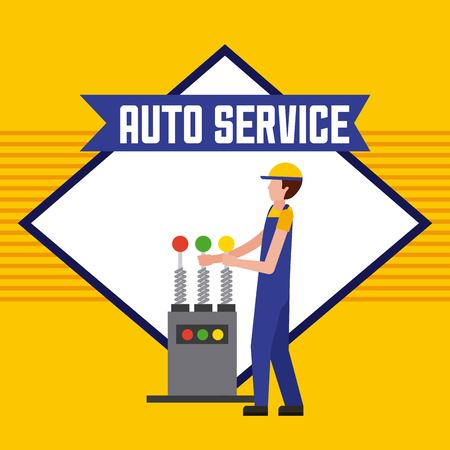 worker with control machine auto service vector illustration