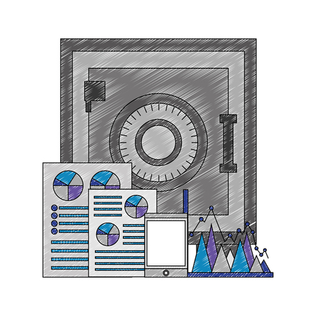 safe heavy box with documents and tablet vector illustration design