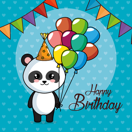 happy birthday card with panda bear vector illustration design