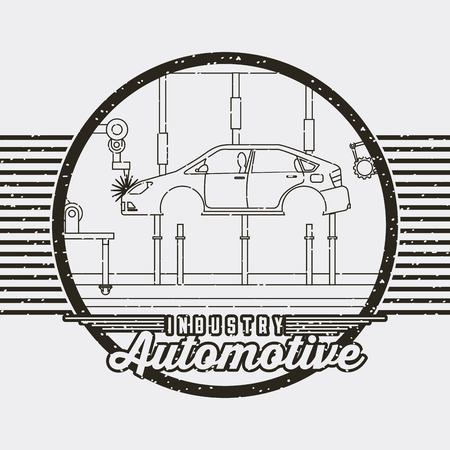 automotive industry body car production conveyor vector illustration Ilustracja