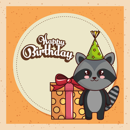 happy birthday card with cute raccoon vector illustration design Illustration