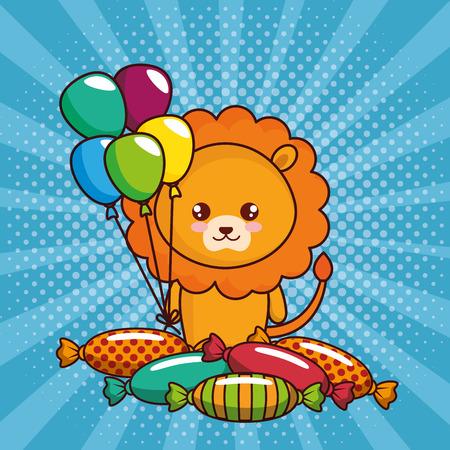 Tarjeta de feliz cumpleaños con lindo león, diseño de ilustraciones vectoriales