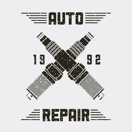 crossed spark plugs spare part auto repair emblem vector illustration