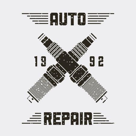crossed spark plugs spare part auto repair emblem vector illustration