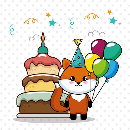 happy birthday card with cute fox vector illustration design