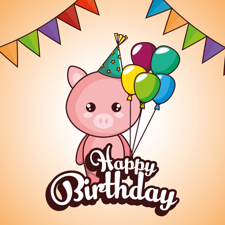 happy birthday card with cute pig vector illustration design