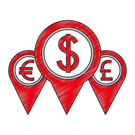 set pin pointer location with symbol crypto money vector illustration design