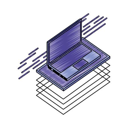 laptop computer isometric icon vector illustration design