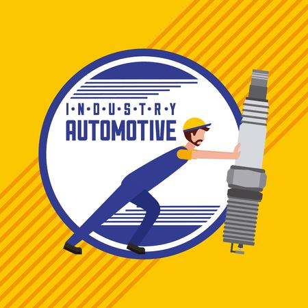 industry automotive worker with spark plug part vector illustration
