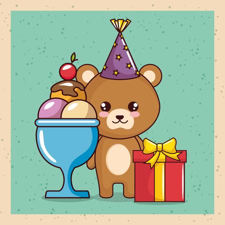 happy birthday card with cute bear vector illustration design