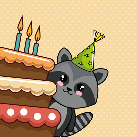 happy birthday card with cute raccoon vector illustration design Ilustrace