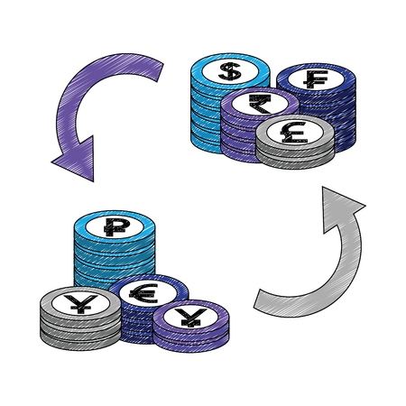 crypto coins pile with arrows vector illustration design