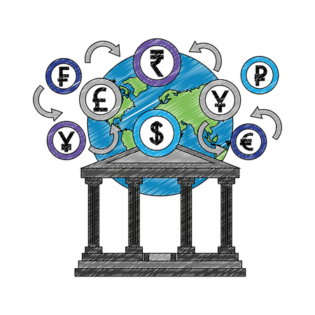 bank building with planet and coins vector illustration design