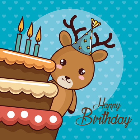 happy birthday card with cute reindeer vector illustration design