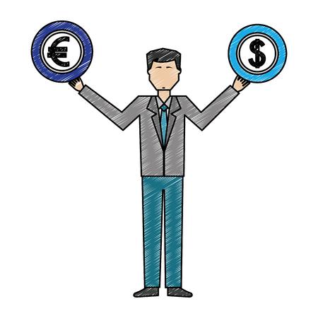 man lifting euro and dollar vector illustration design