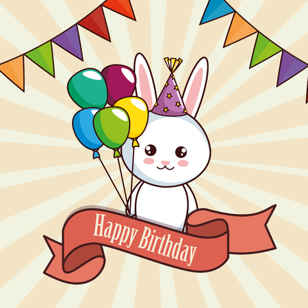 happy birthday card with cute rabbit vector illustration design