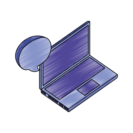 laptop computer with speech bubble isometric icon vector illustration design
