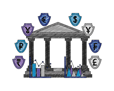 bank building with money international shields vector illustration design  イラスト・ベクター素材