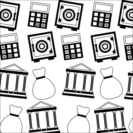 safe box with calculator and bank pattern vector illustration design