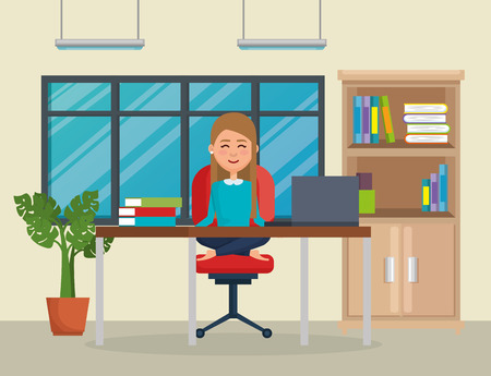 Geschäftsfrau, die Yoga im Bürostuhlvektorillustrationsdesign praktiziert Vektorgrafik