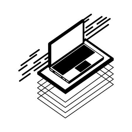 laptop computer isometric icon vector illustration design
