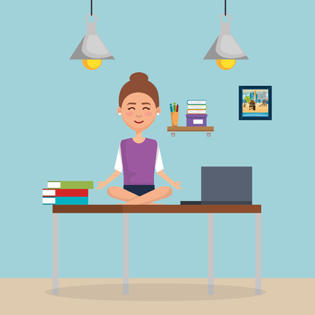 business woman practicing yoga in office desk vector illustration design Çizim